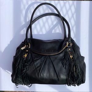 Botkier Fringe Morgan Black Leather Satchel Bag